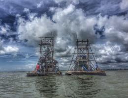 Zinntaucher vor der Küste in Bangka