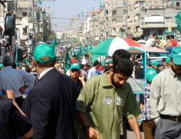 Eine Demonstration von Anhängern der Hamas