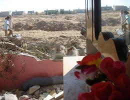 Zerstörung nach einer Militärinvasion im Dorf Schocke im Sommer 2006