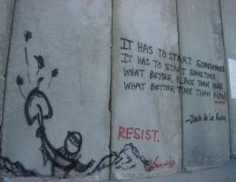 Graffiti auf der Sperrmauer um Bethlehem